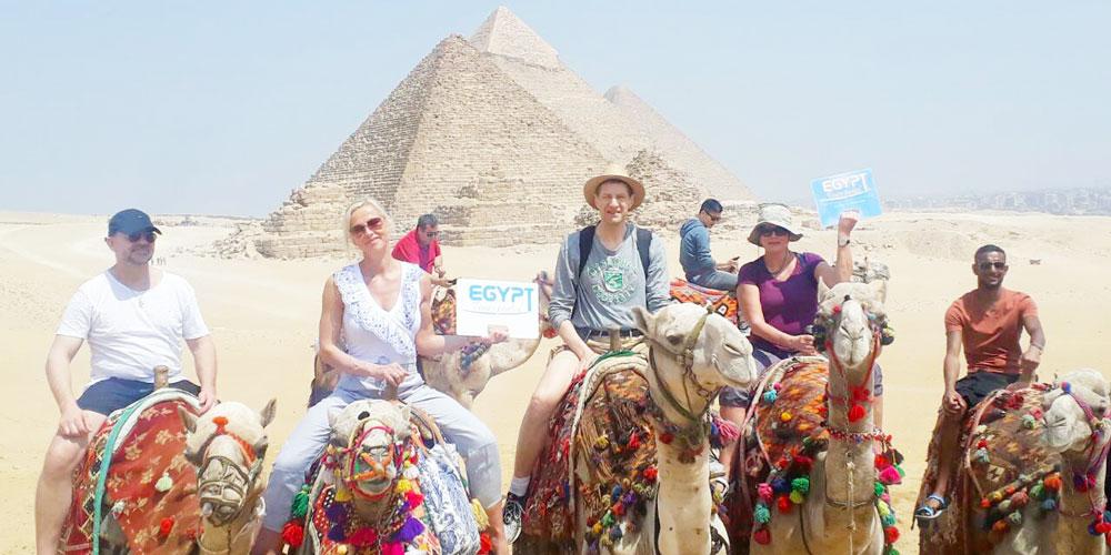 Group at Giza Pyramids - Egypt Tours Portal