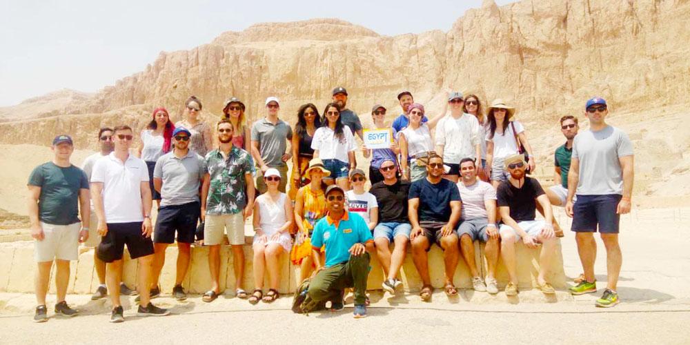 Group at Hatshepsut Temple - Egypt Tours Portal
